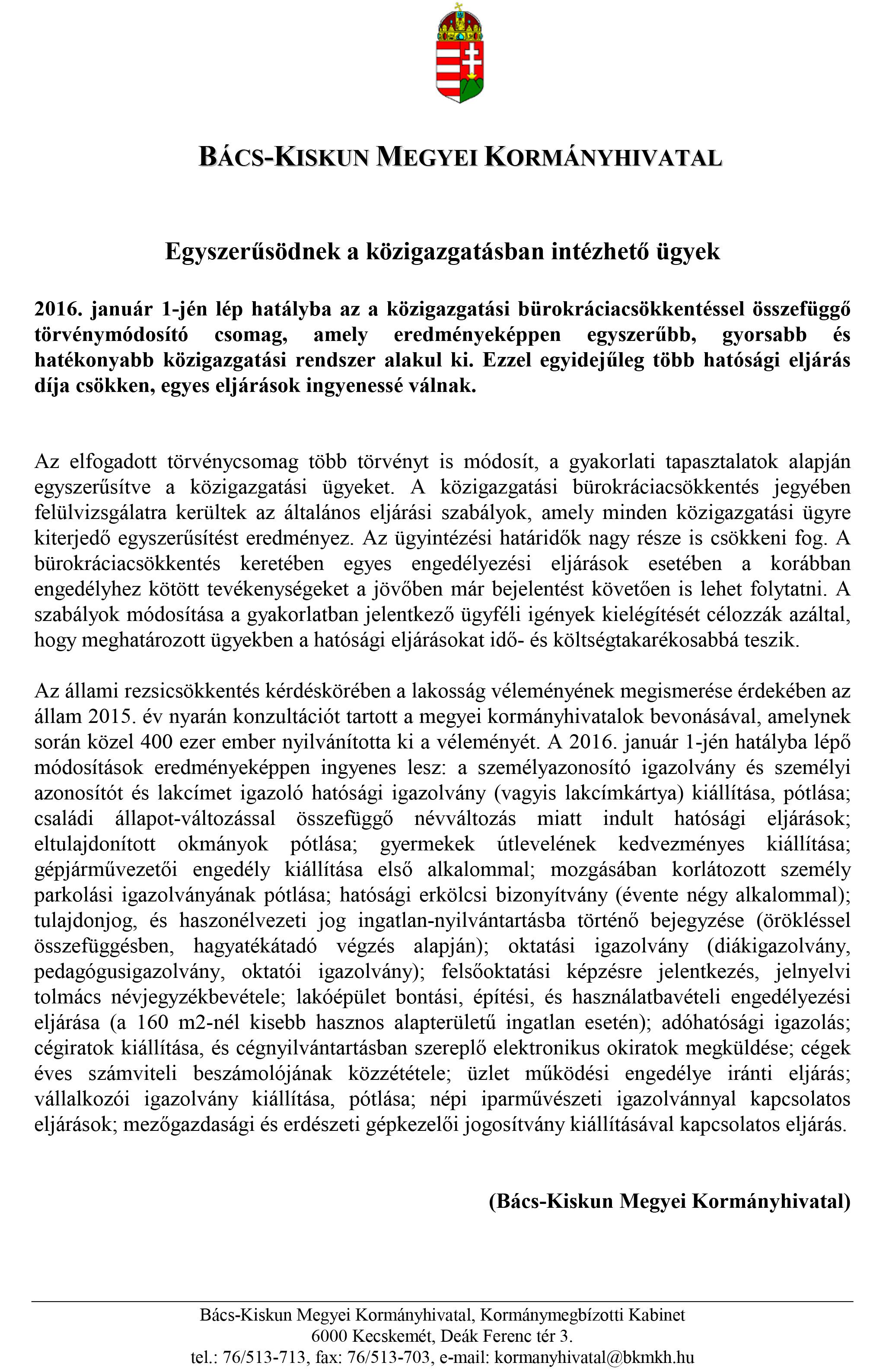 sajtóközlemény-rezsi és bürokráciacsökkentés